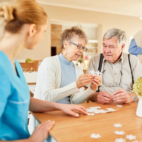 The Philomena | Seniors solving puzzle with associate
